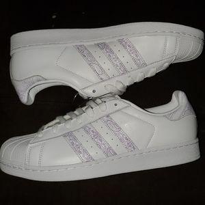 Adidas Superstar White & Purple Men US 11